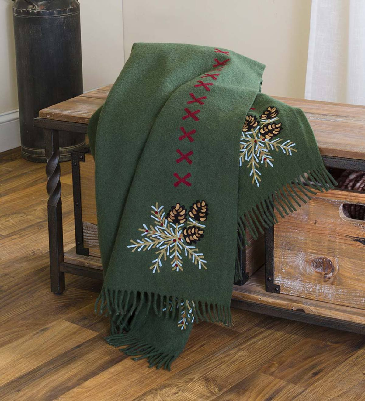 Oversized Embroidered Wool Blend Pine Cone Throw