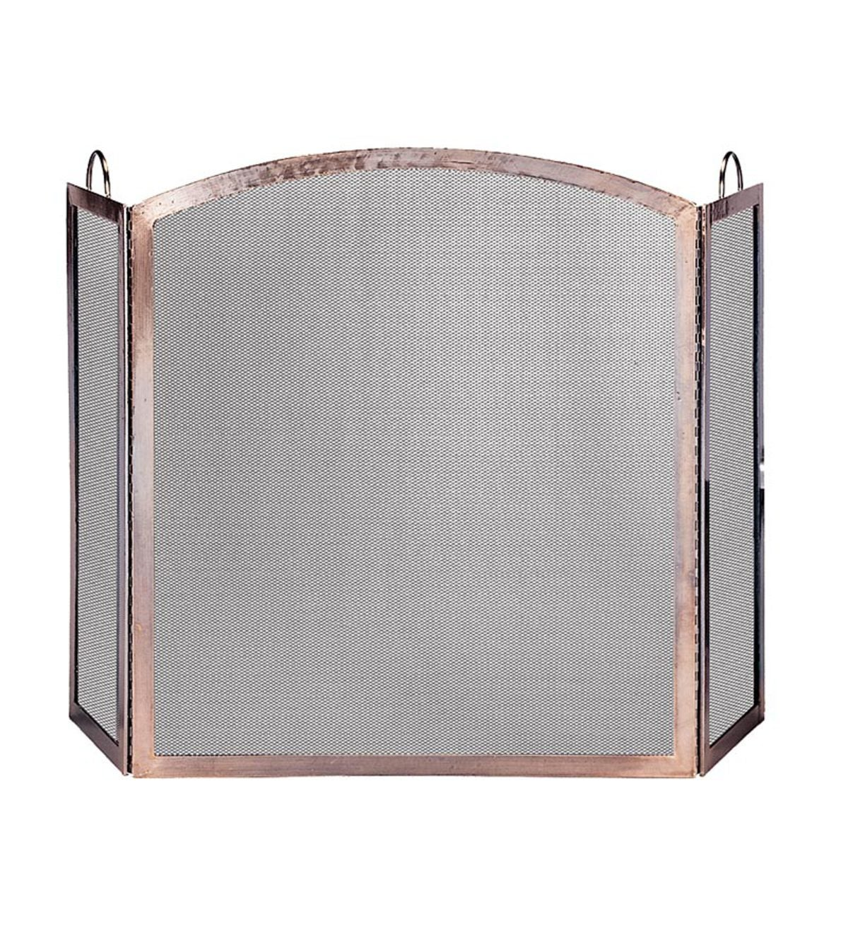 Antique Copper Tri-Folding Fireplace Screen With Arch