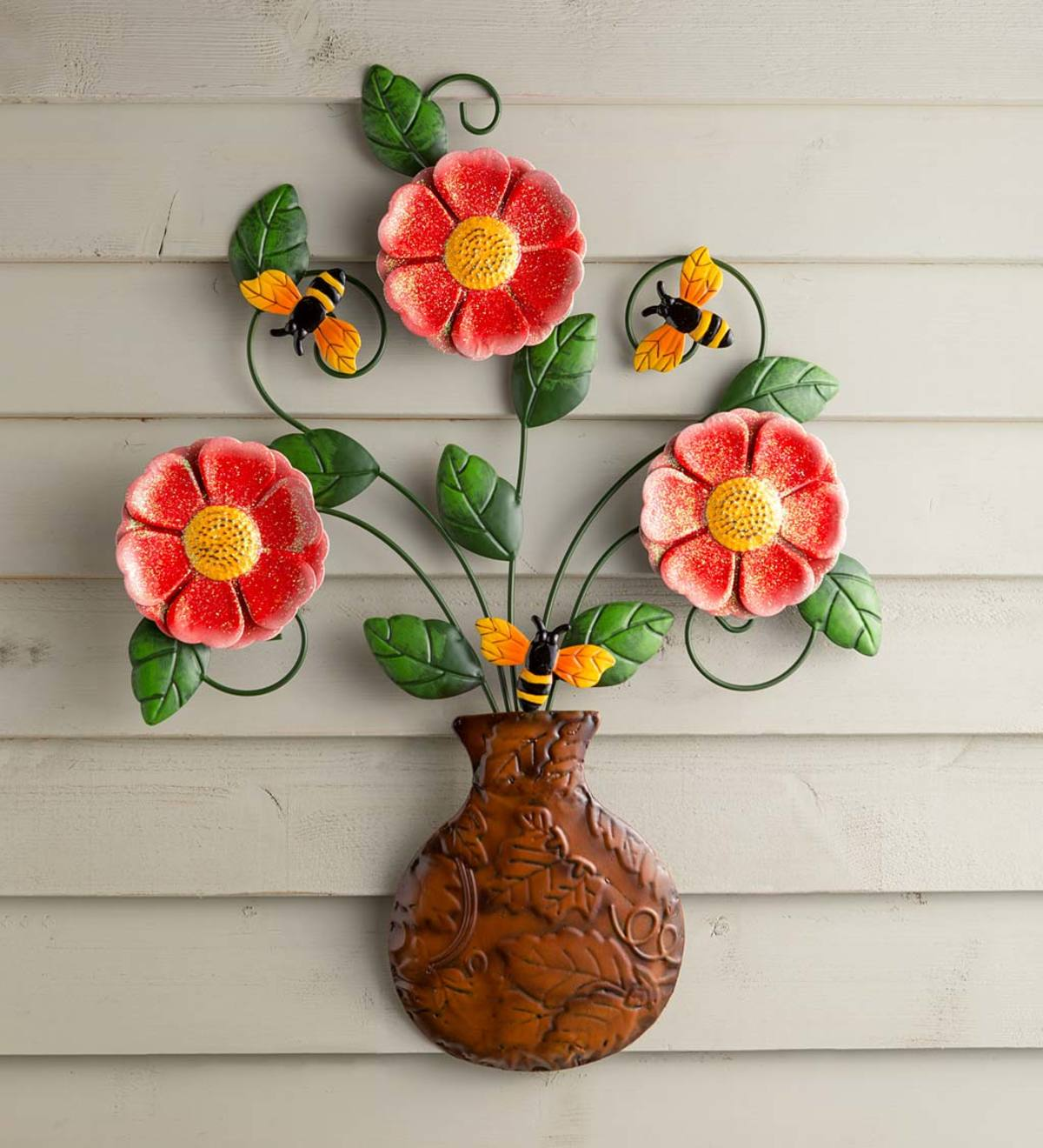 Colorful Flower Bouquet in Vase Metal Wall Art
