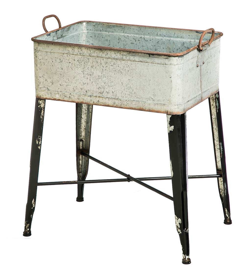 Raised Galvanized Metal Wash Tub Planter/Drink Holder