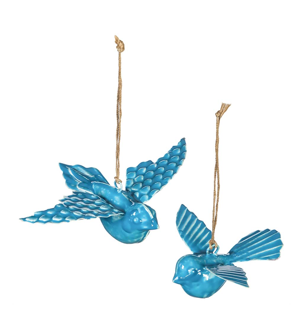 Metal Embossed Enamel Hanging Birds, Set of 2 swatch image