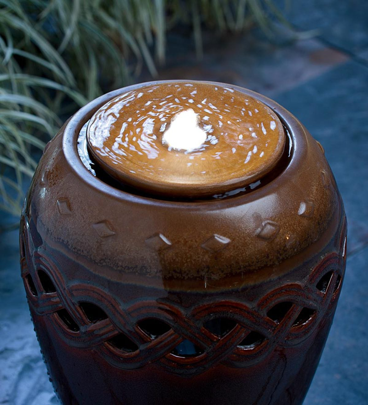 Lighted Glazed Ceramic Urn Fountain
