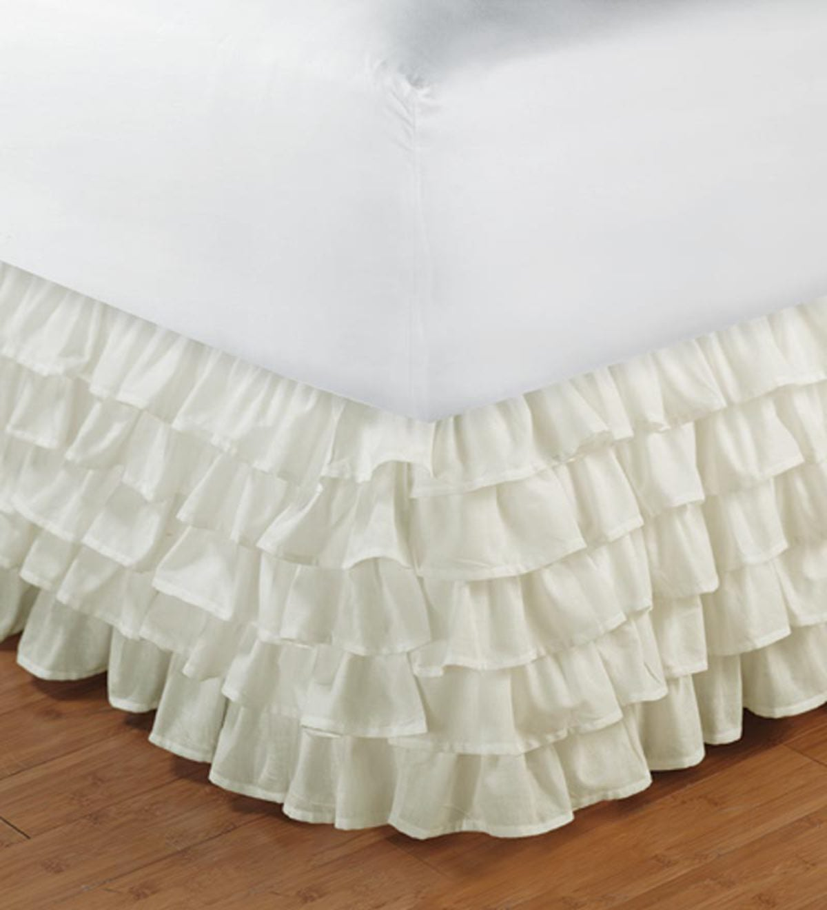 King Bed Skirt with Ruffles - Ivory