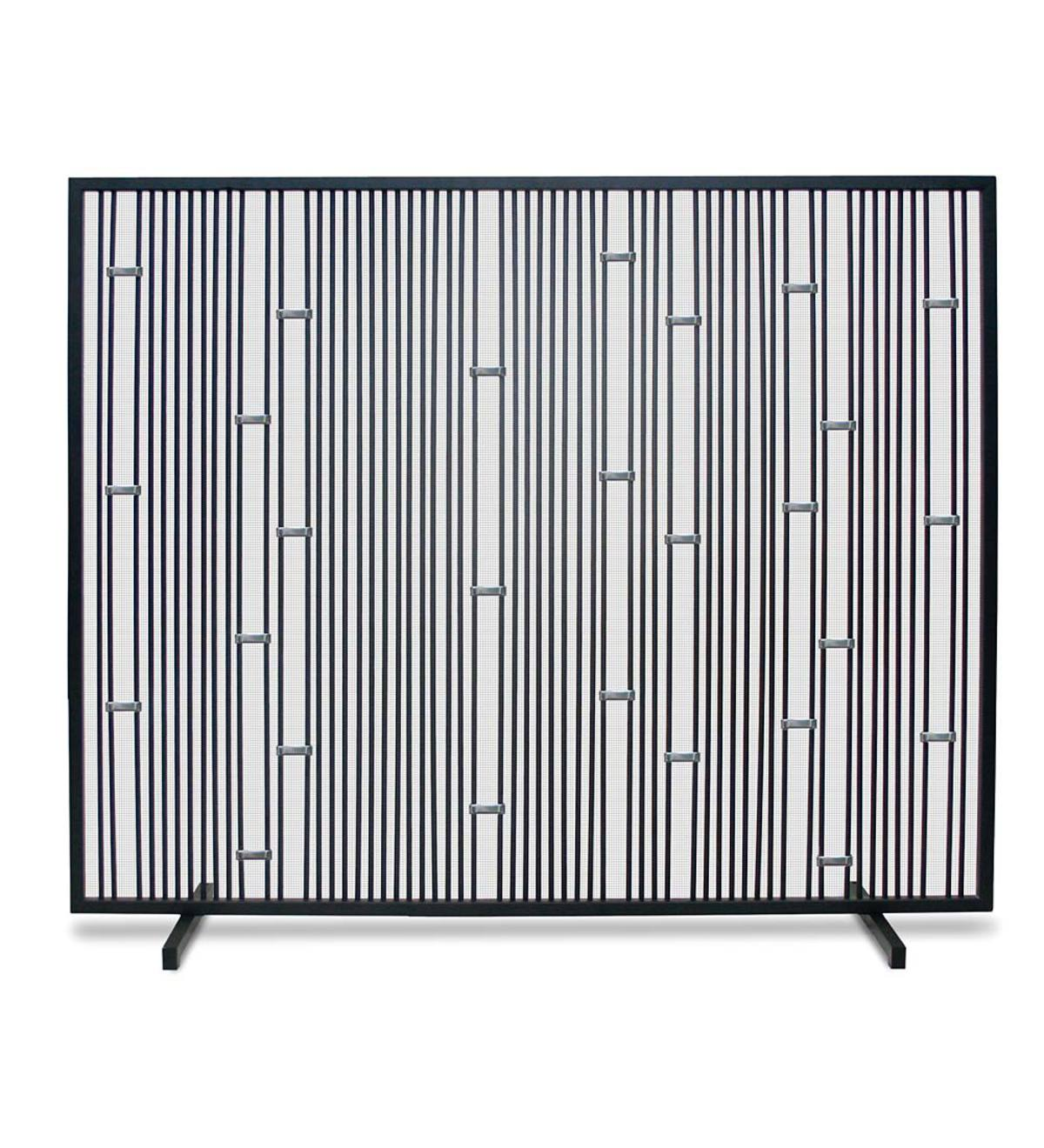 Arden Single Panel Mesh Fireplace Screen - Stainless Steel