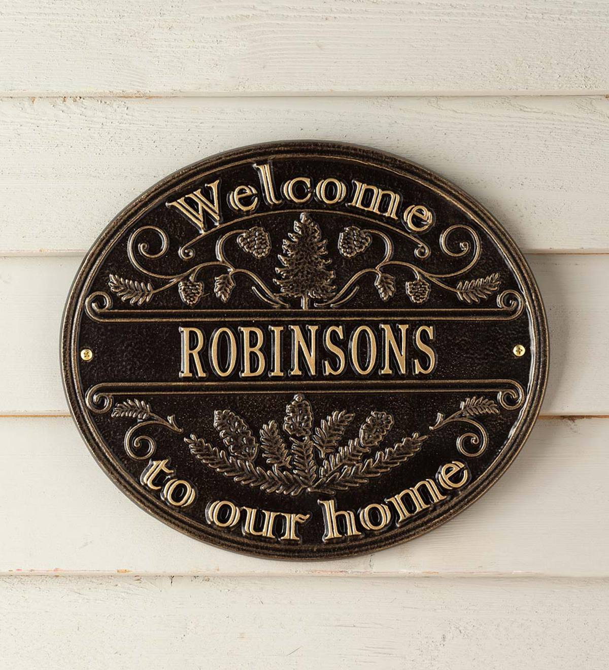 Cast Aluminum Personalized Pine Welcome Wall Plaque