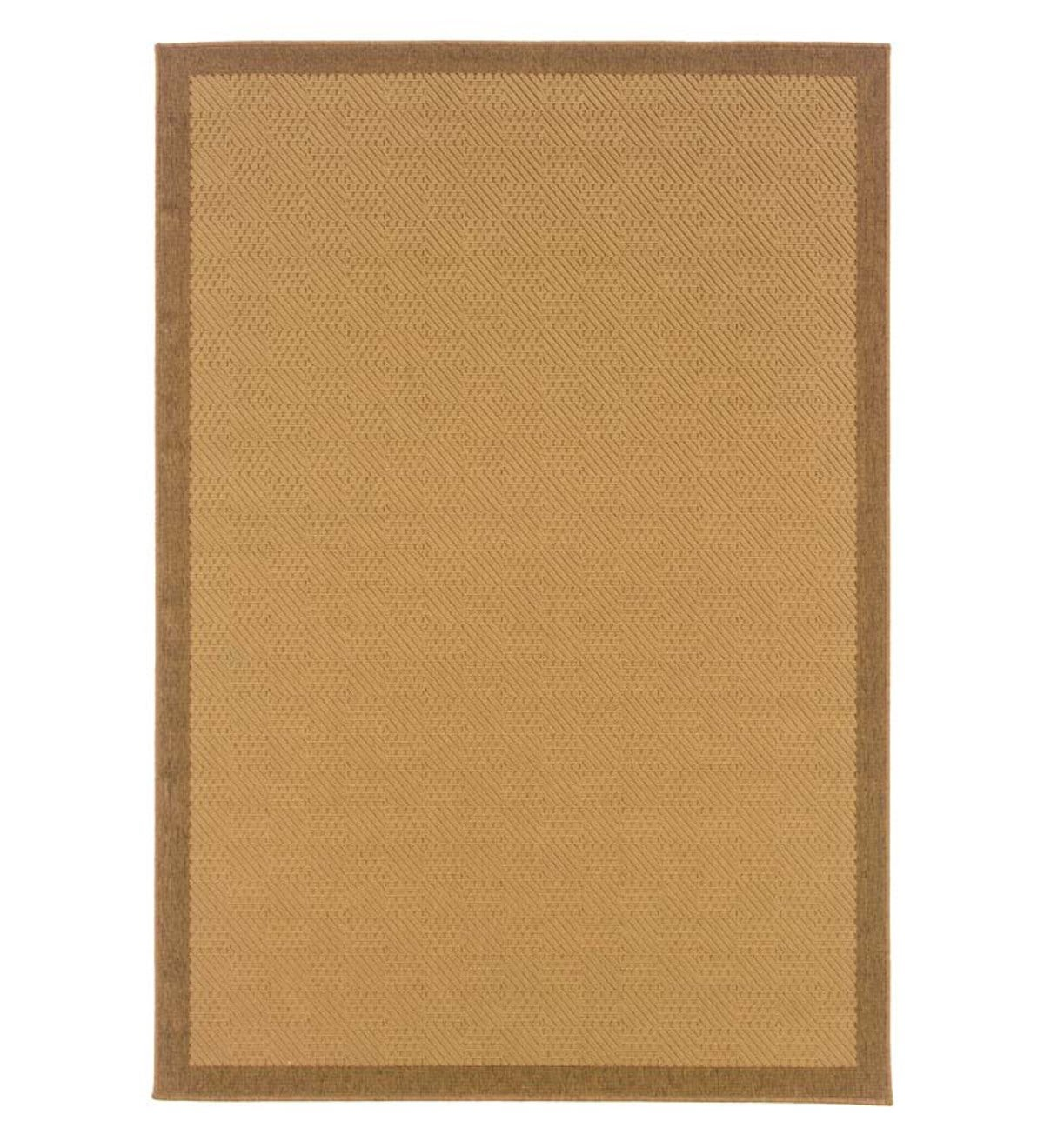 "3'7""W x 5'6""L Indoor/Outdoor Stain-Resistant Textured Lanai Rug with Solid Color Border - Brown"