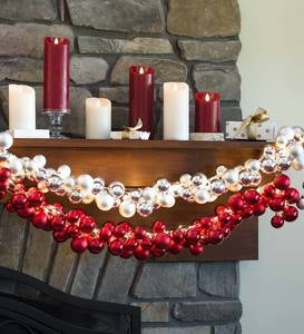 Lighted Six-Strand Shatterproof Cascade Garland with 144 LEDs and 138 Ornaments