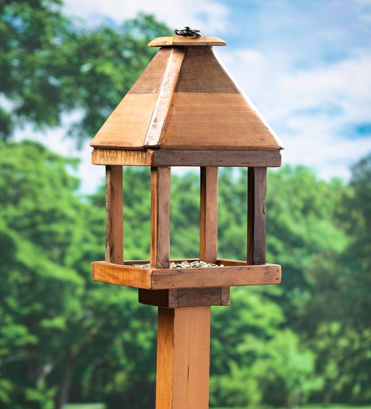 Reclaimed Wood Open Platform Bird Feeder with Roof