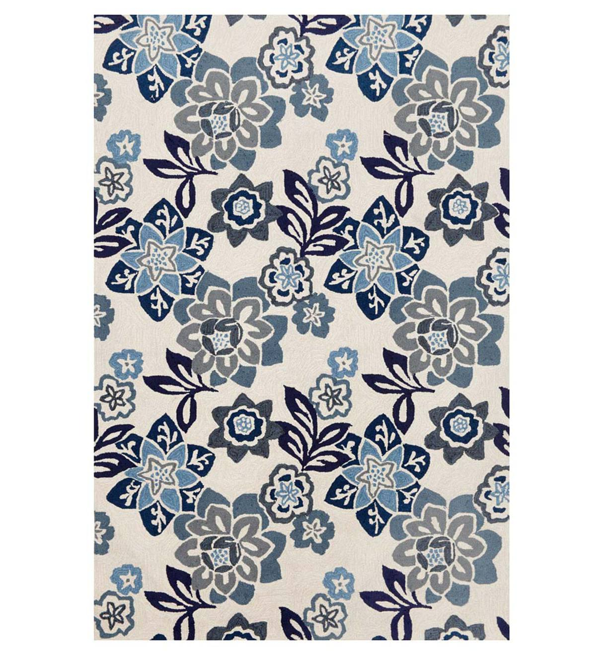 "Ravella Floral Indoor/Outdoor Rug, 42""x 66"" - Blue"