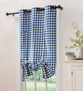Checked Grommet Tie-Up Shade