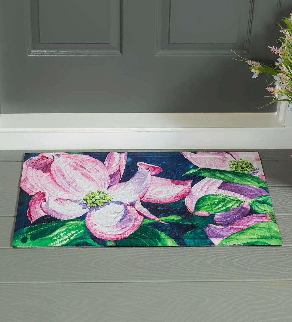 Indoor/Outdoor Embossed Dogwood Blossoms Floor Mat