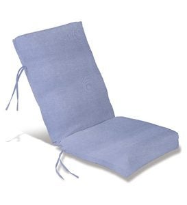 "Sale! Polyester Classic High Back Chair Cushion With Ties, 46""x 20""with hinge 19""from bottom - Periwinkle"