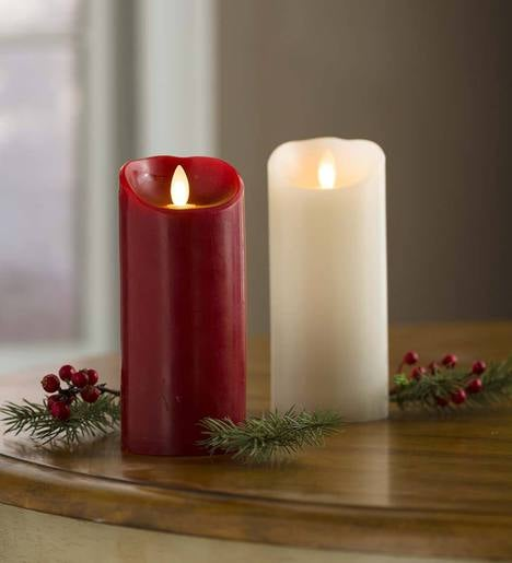 "LED Pillar Candle with Flicker Flame and Auto-Timer, 7""H"