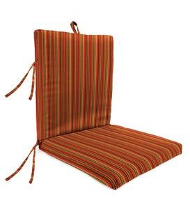 "Sunbrella Classic High Back Chair Cushion With Ties, 46""x 20""x 4""with hinge 19""from bottom - Cherry Stripe"