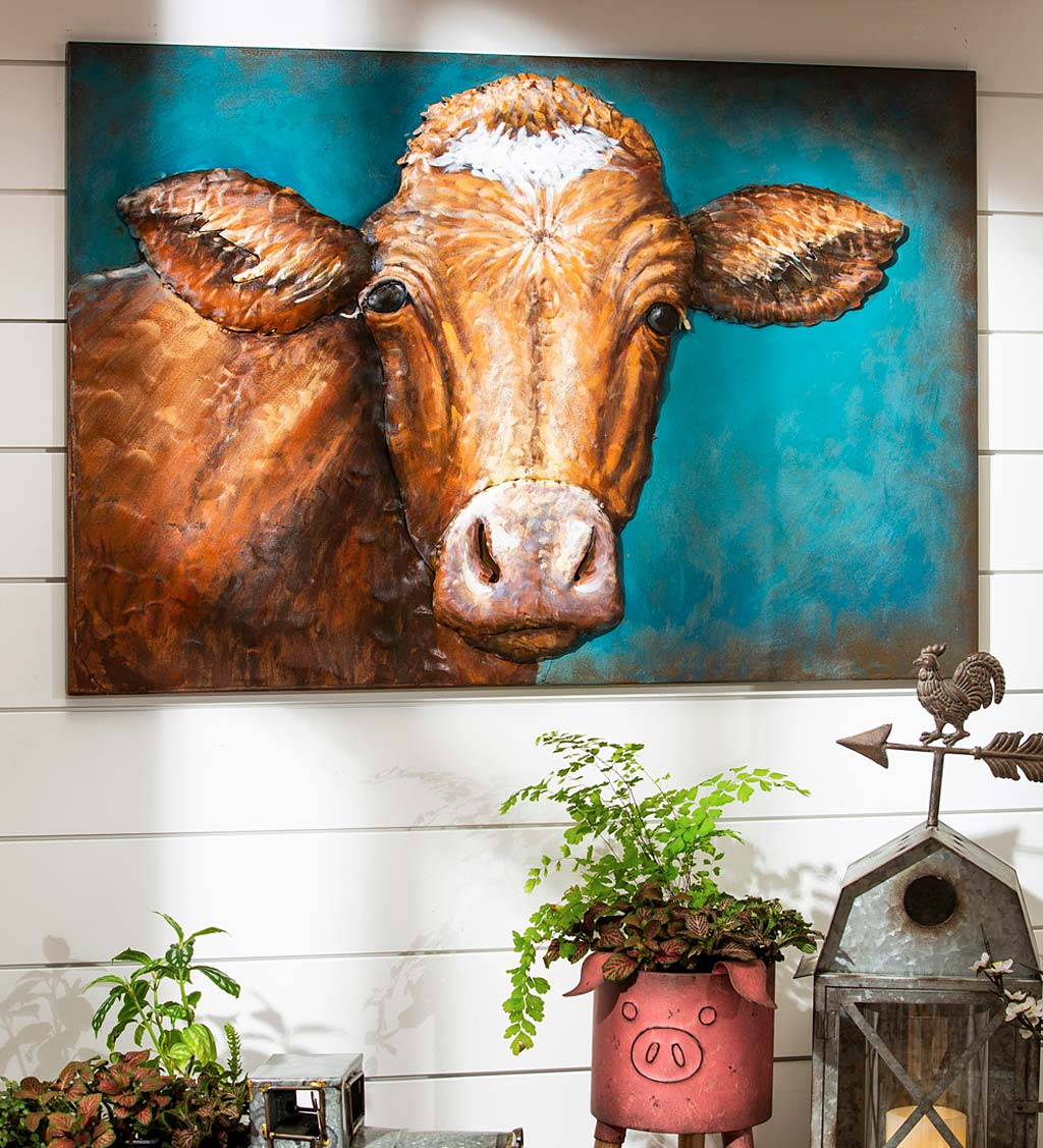 Handcrafted Metal 3D Cow Wall Art
