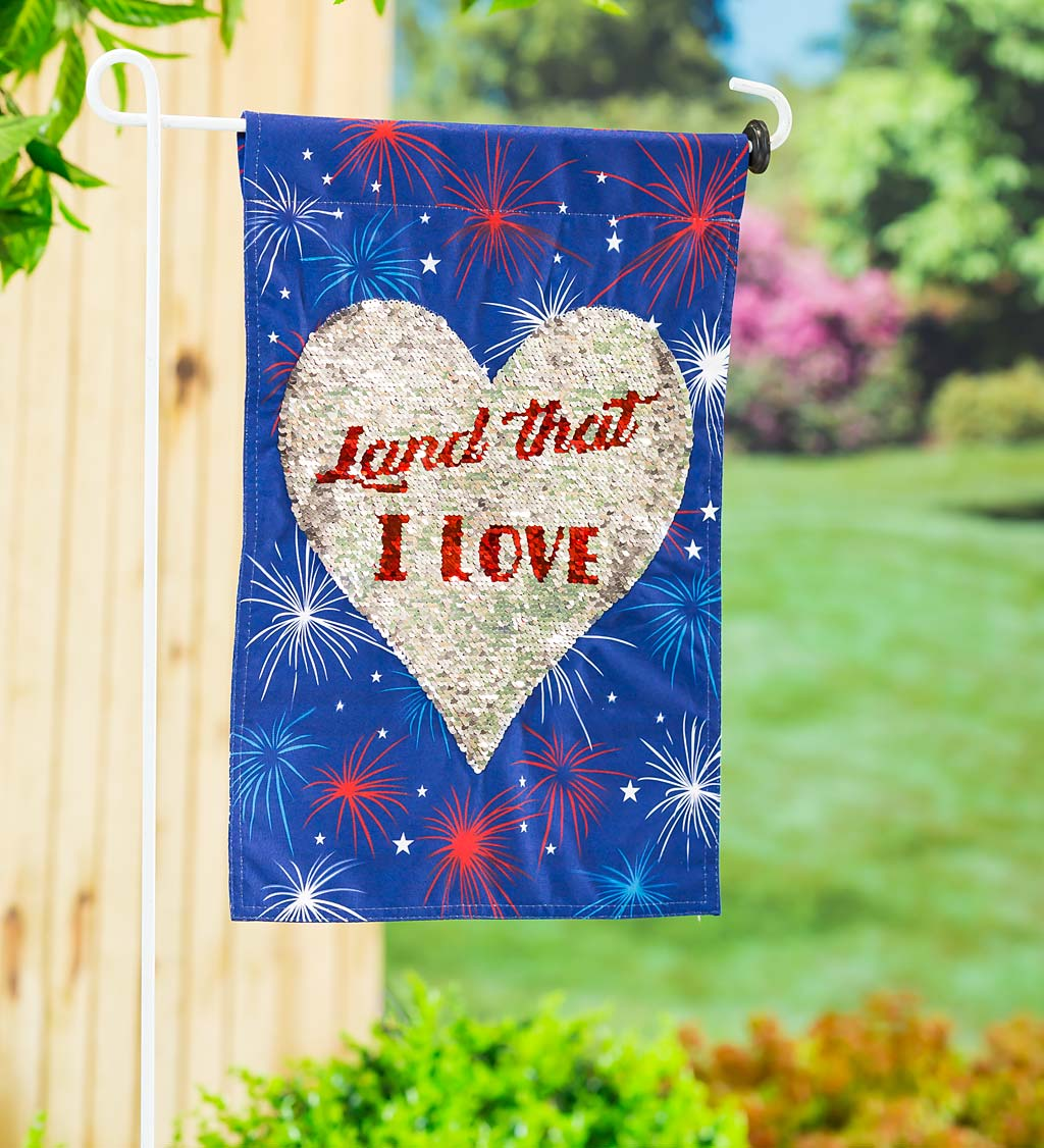Land That I Love Sequined Americana Reversible Garden Flag