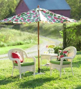 Market Umbrella with Wood Pole and Pulley Lift, 9' dia. - BLUE FLORAL