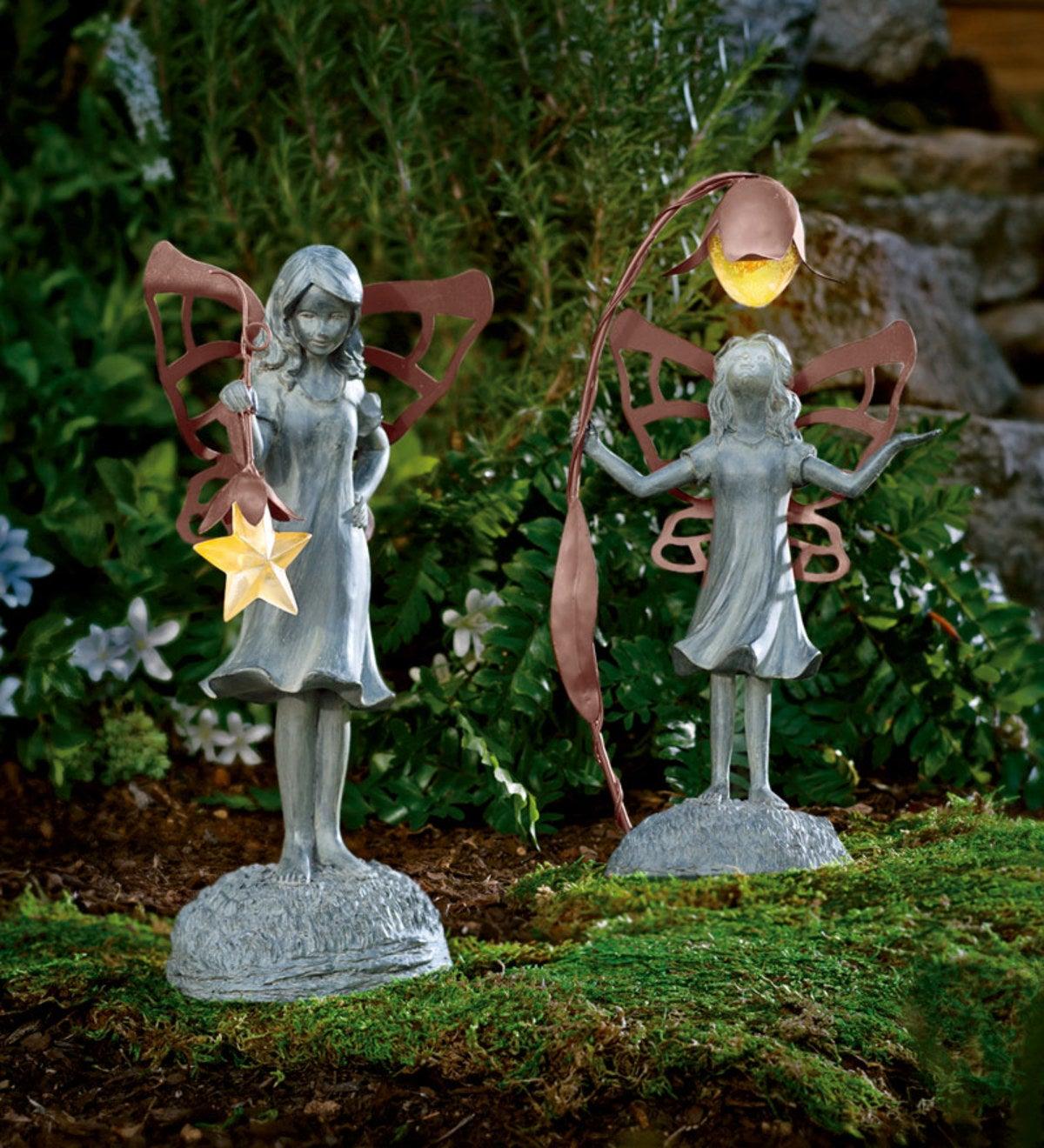 Garden Statue Fairy: Star Fairy Garden Statue With Solar Lantern