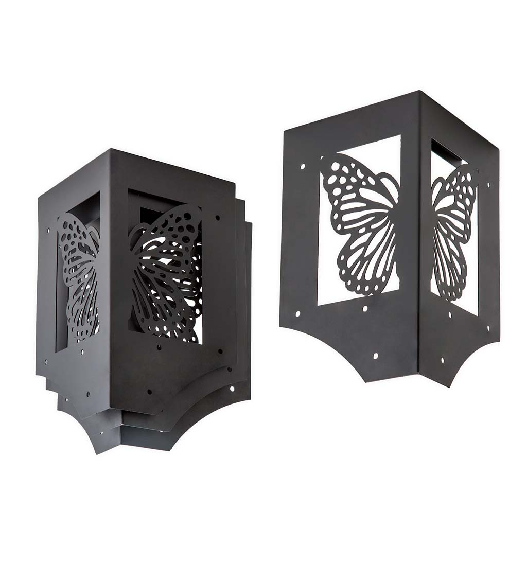 Steel Raised Garden Bed Corner Brackets In Butterfly Design Set Of 4 Plowhearth