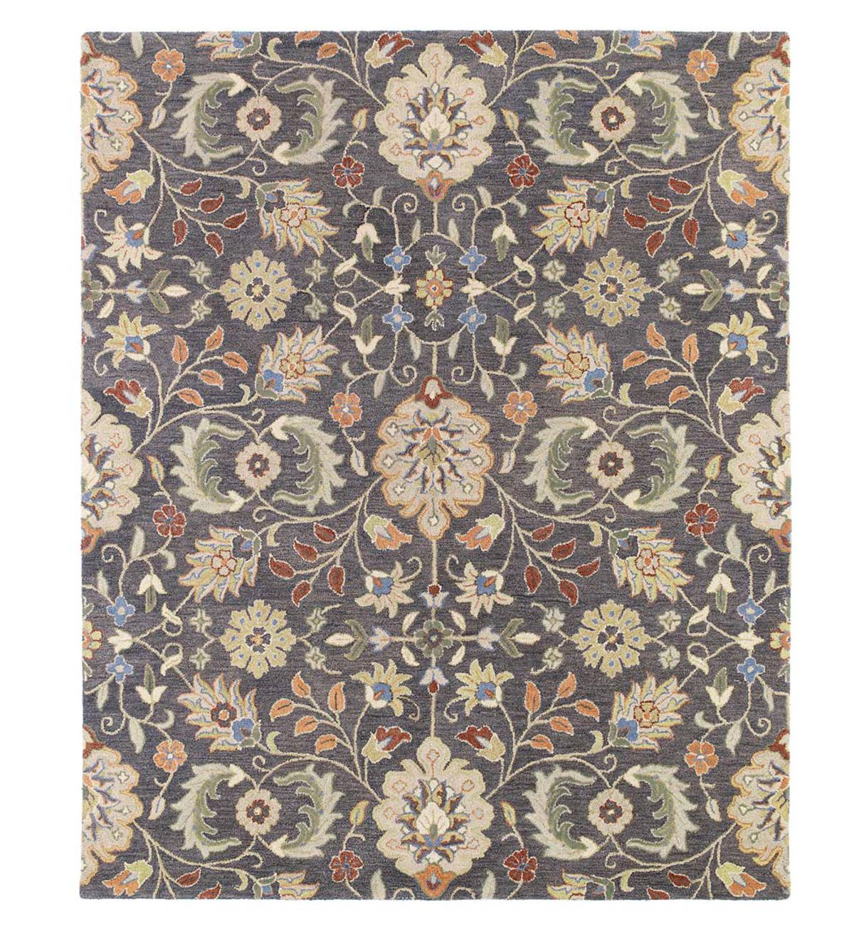 Meadow Wildflower Wool Rug, 10' x 14' - Pewter