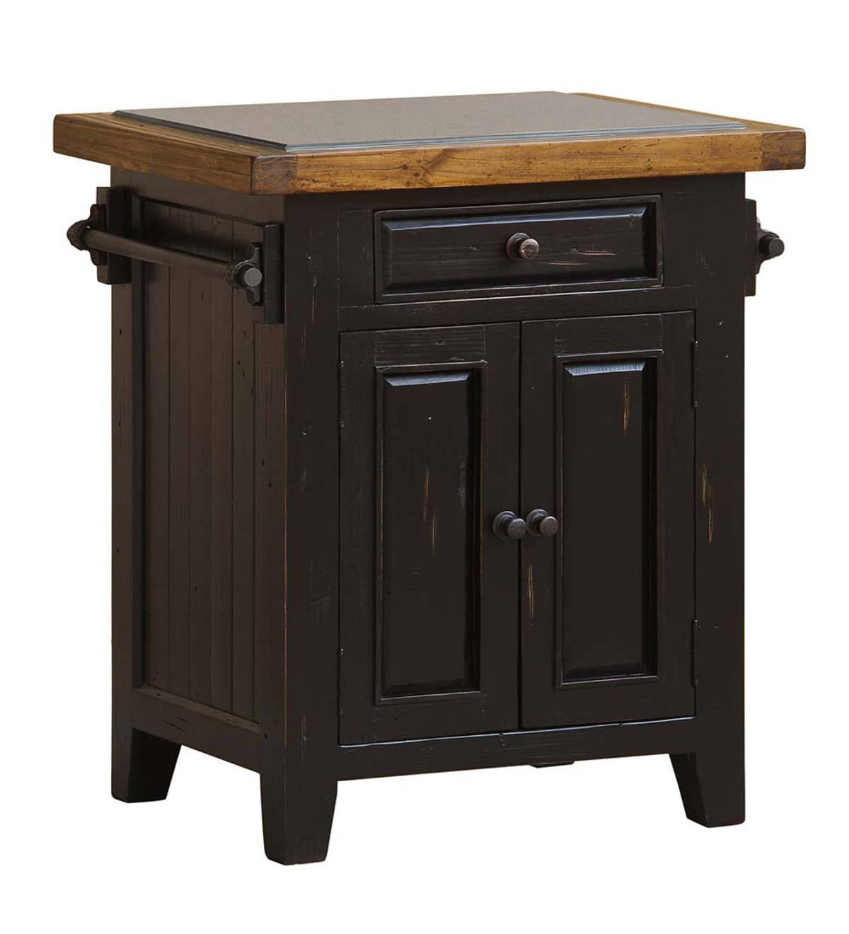 Florence Granite-Top Small Kitchen Island - Black