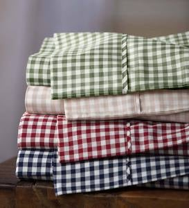 Twin Gingham Cotton Percale Sheet Set