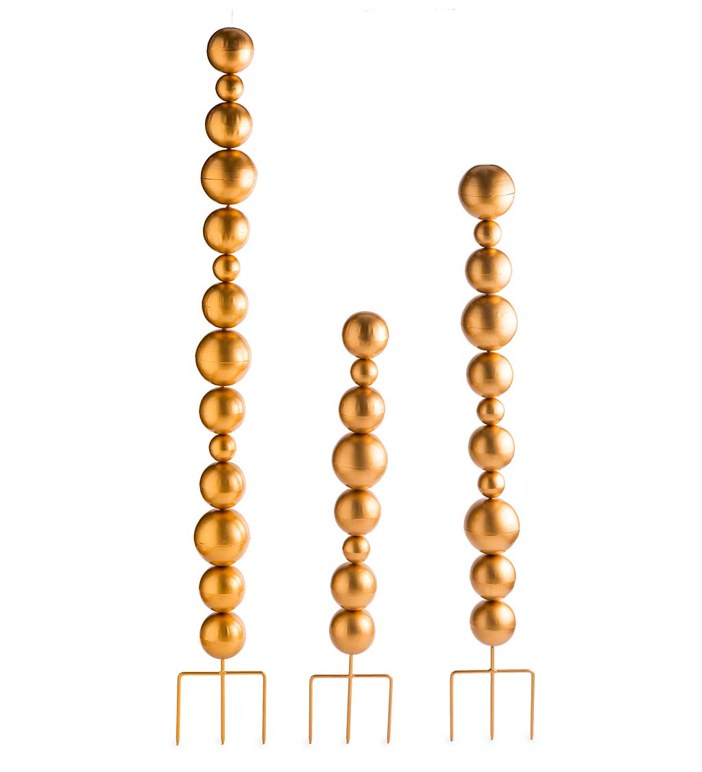 Metal Tower Garden Stakes With Multiple Sized Spheres, Set of 3 swatch image