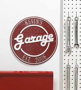 Personalized Round Retro Garage Sign In Cast Aluminum