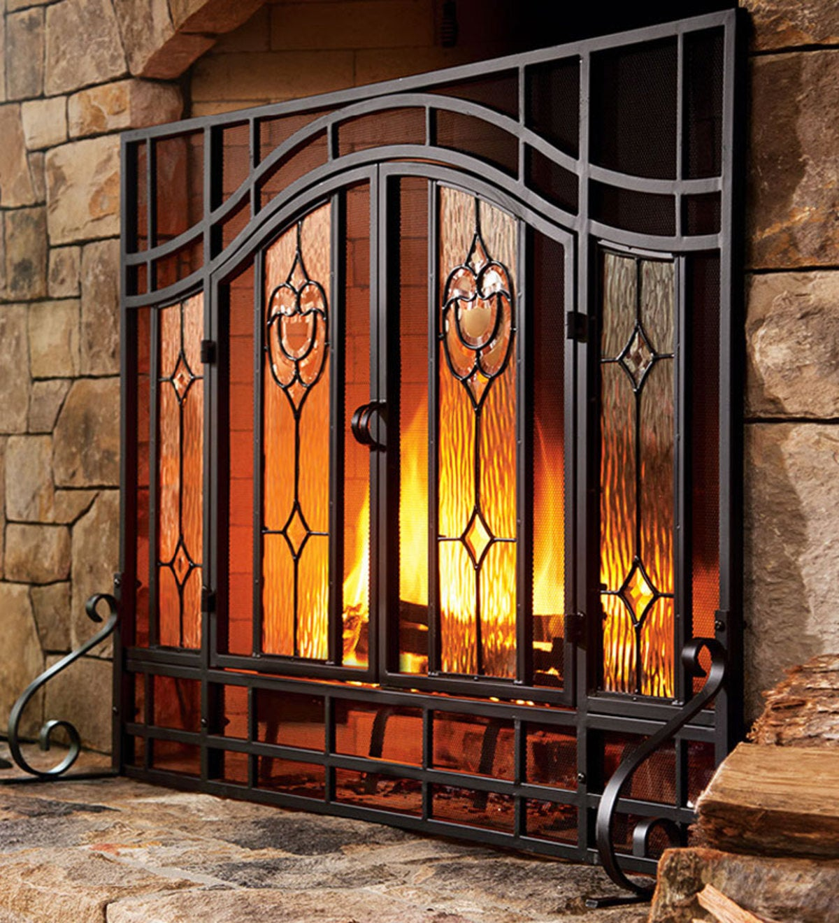 Large Two-Door Fireplace Screen with Glass Floral Panels
