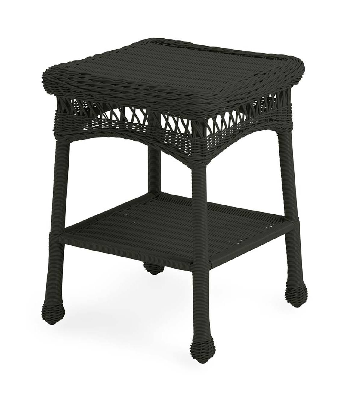 Easy Care Resin Wicker End Table - Black