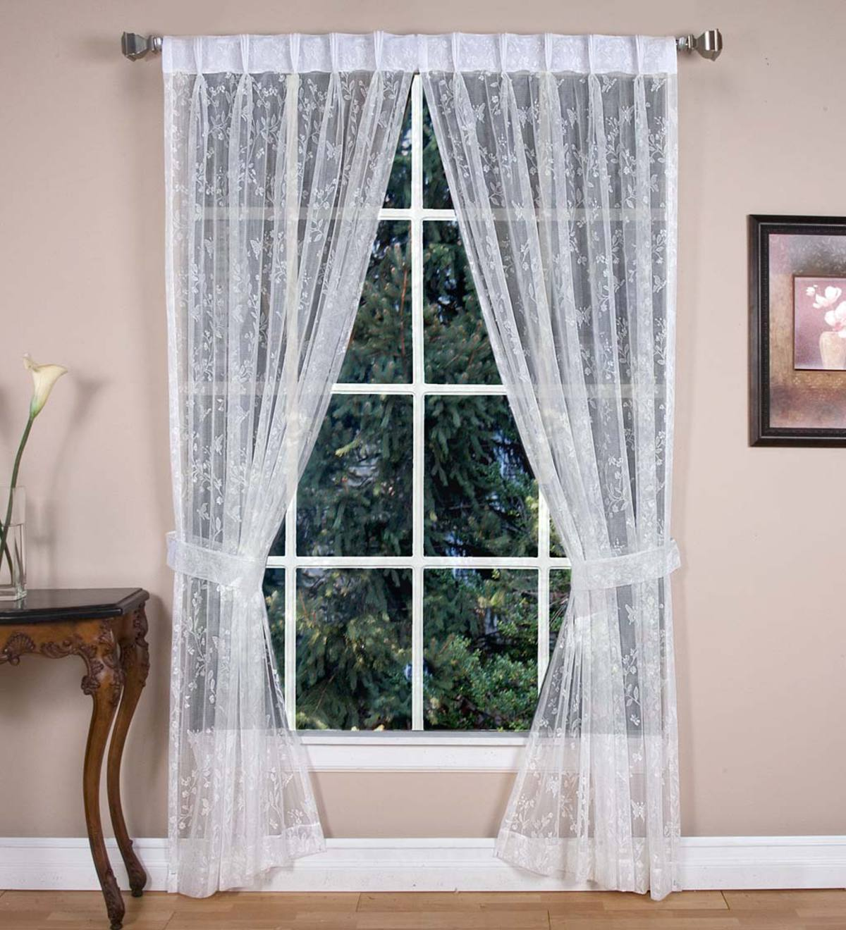 "Butterfly Garden Sheer Curtain Pairs, 96""L - White"