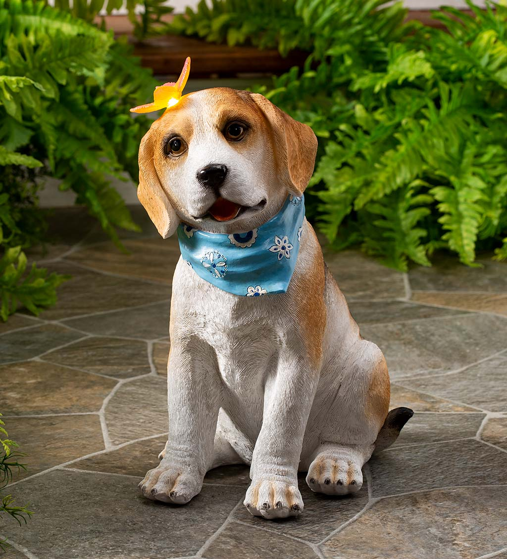 Beagle Puppy With Solar Butterfly Garden Statue