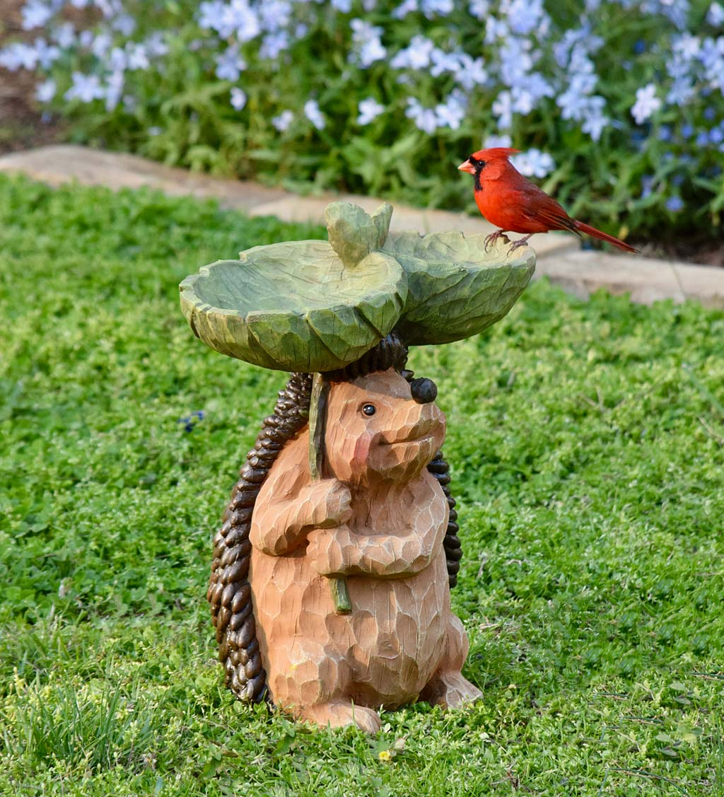Carved Resin Hedgehog Birdbath Garden Accent