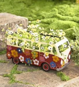 Red Metal Flower Power Bus Planter