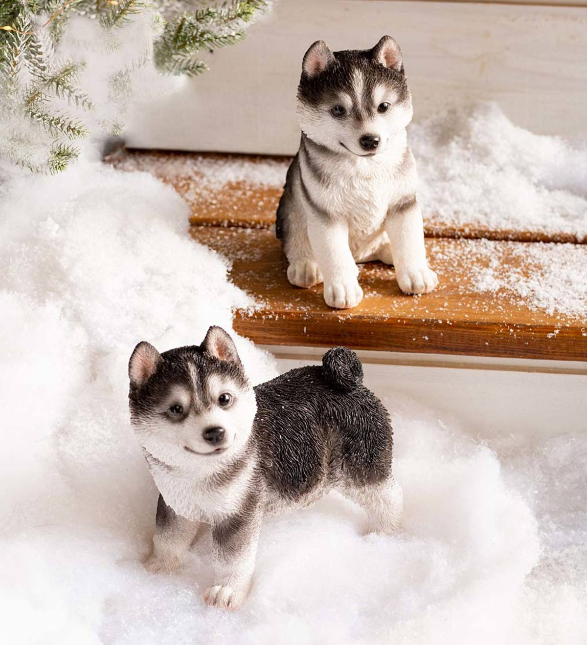Lifelike Indoor/Outdoor Siberian Husky Puppy Statues, Set of 2