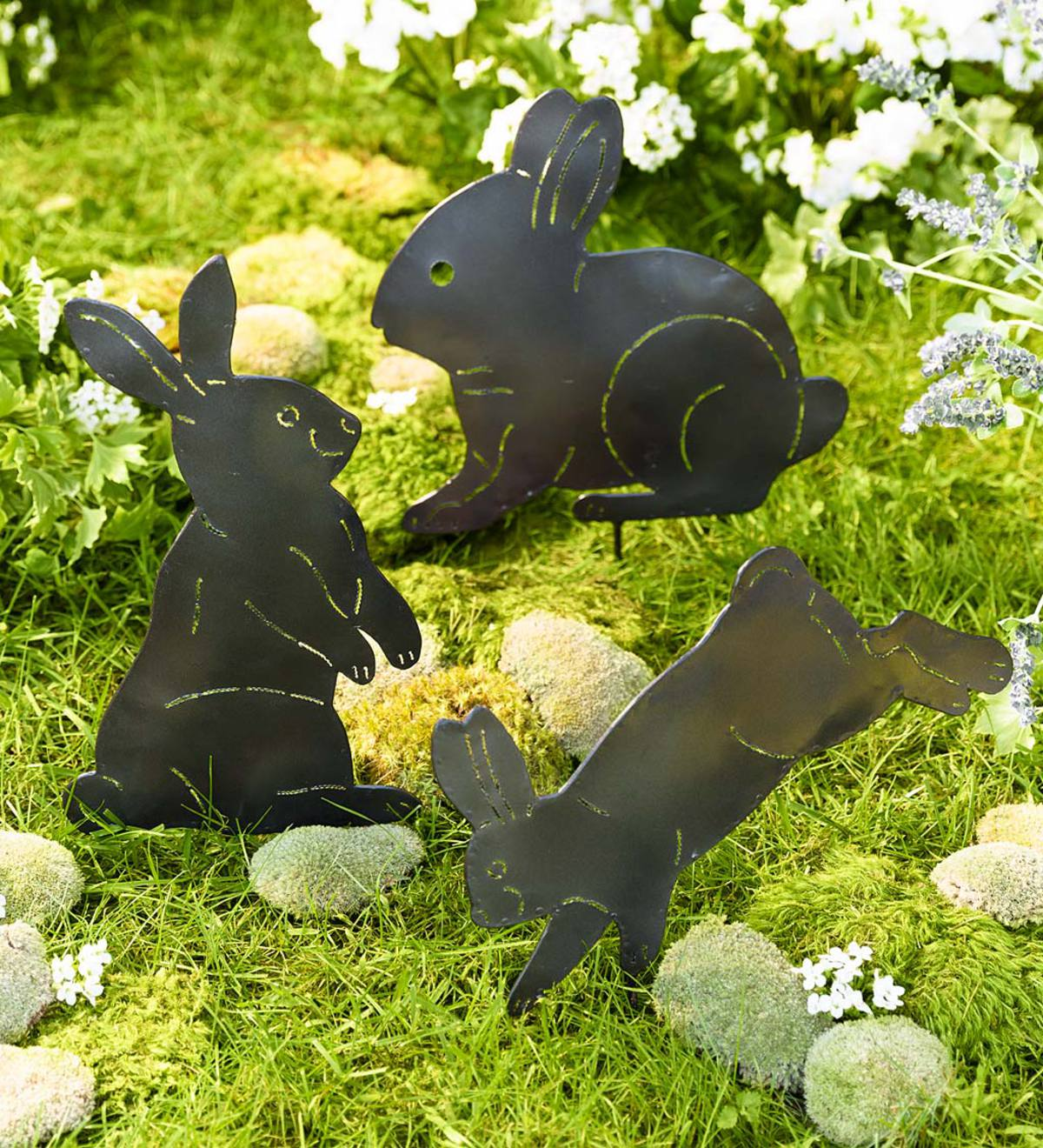 Metal Bunny Silhouettes Garden Decor, Set of 3