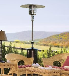 Steel Propane Patio Heater With Adjustable Table In Bronze Or Silver Finish