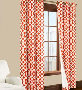 "84""L Thermalogic™ Trellis Grommet-Top Insulated Curtains - Coral"