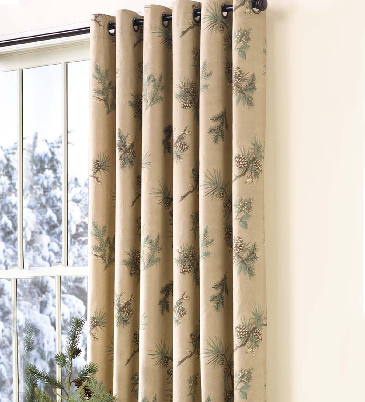 "Thermalogic™ Insulated Peaceful Pine Grommet-Top Curtain Pairs, 84""L Double Width"