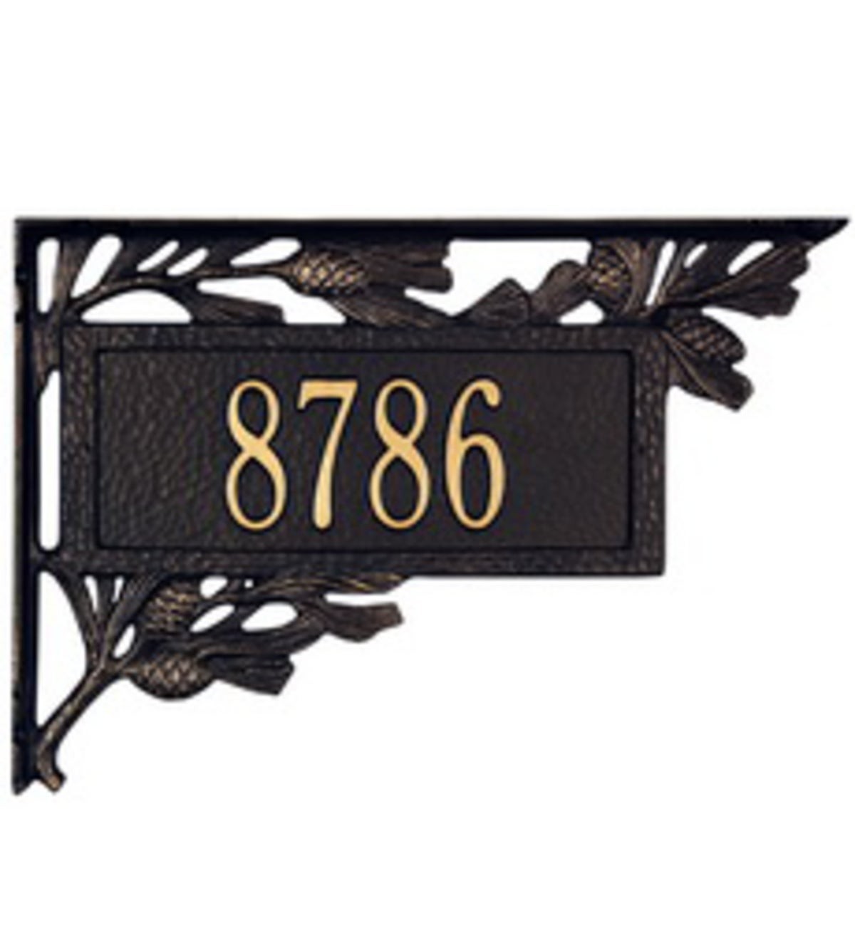 American-Made Personalized Pine Cone 2-Sided Mailbox Address Marker In Cast Aluminum - Black