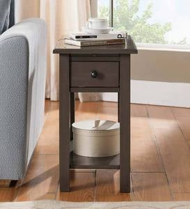 Benton Side Table with Charging Station - Antique White