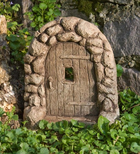 American Made Cast Stone Gnome Home Door Plowhearth