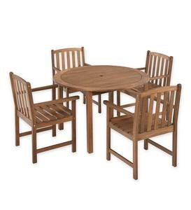 Lancaster Outdoor Furniture Collection, Eucalyptus Wood Round Table and 4 Chairs
