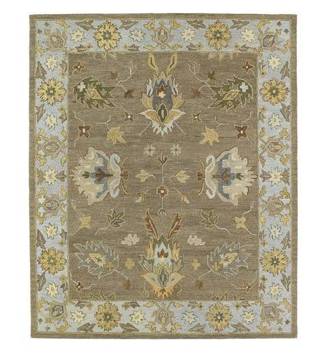 "Baroque Border Tan Wool Rug, 9'6""x 13'"