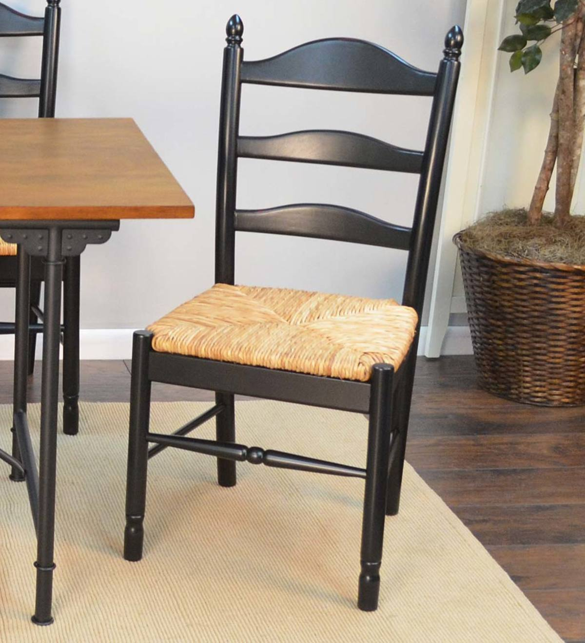 Picture of: Farmhouse Hardwood Ladder Back Chair Antique Black Plowhearth