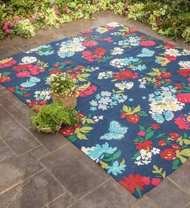 Indoor/Outdoor Hooked Butterfly Garden Rug with High/Low Weave
