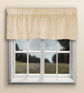 Sheer Linen Button Valance with Rod Pocket