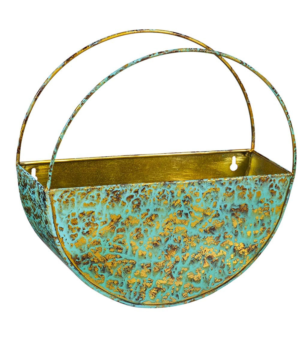 Verdigris Hanging Wall Planter