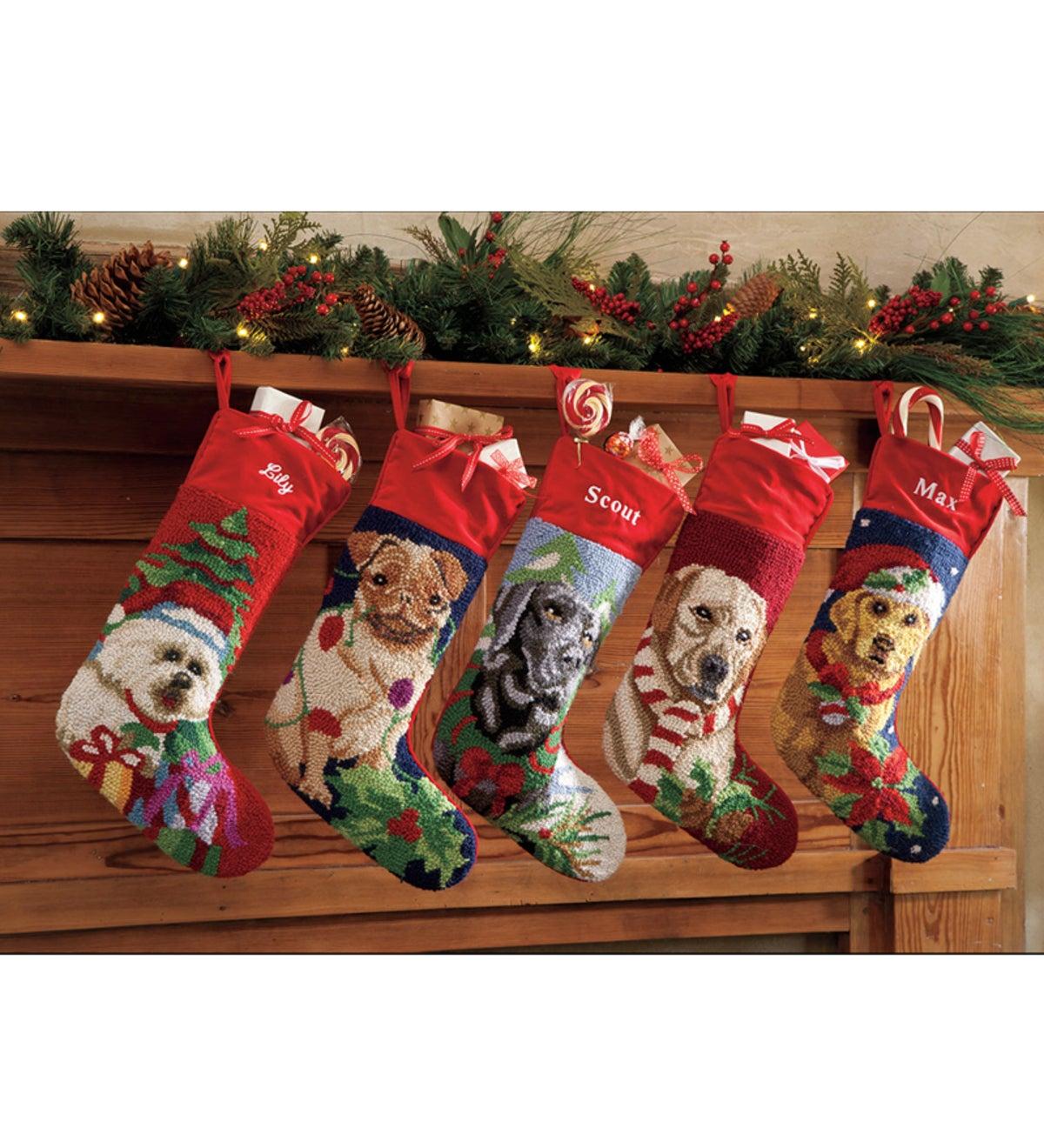 Dog Christmas Stocking.Hooked Wool Dog Christmas Stockings Plowhearth
