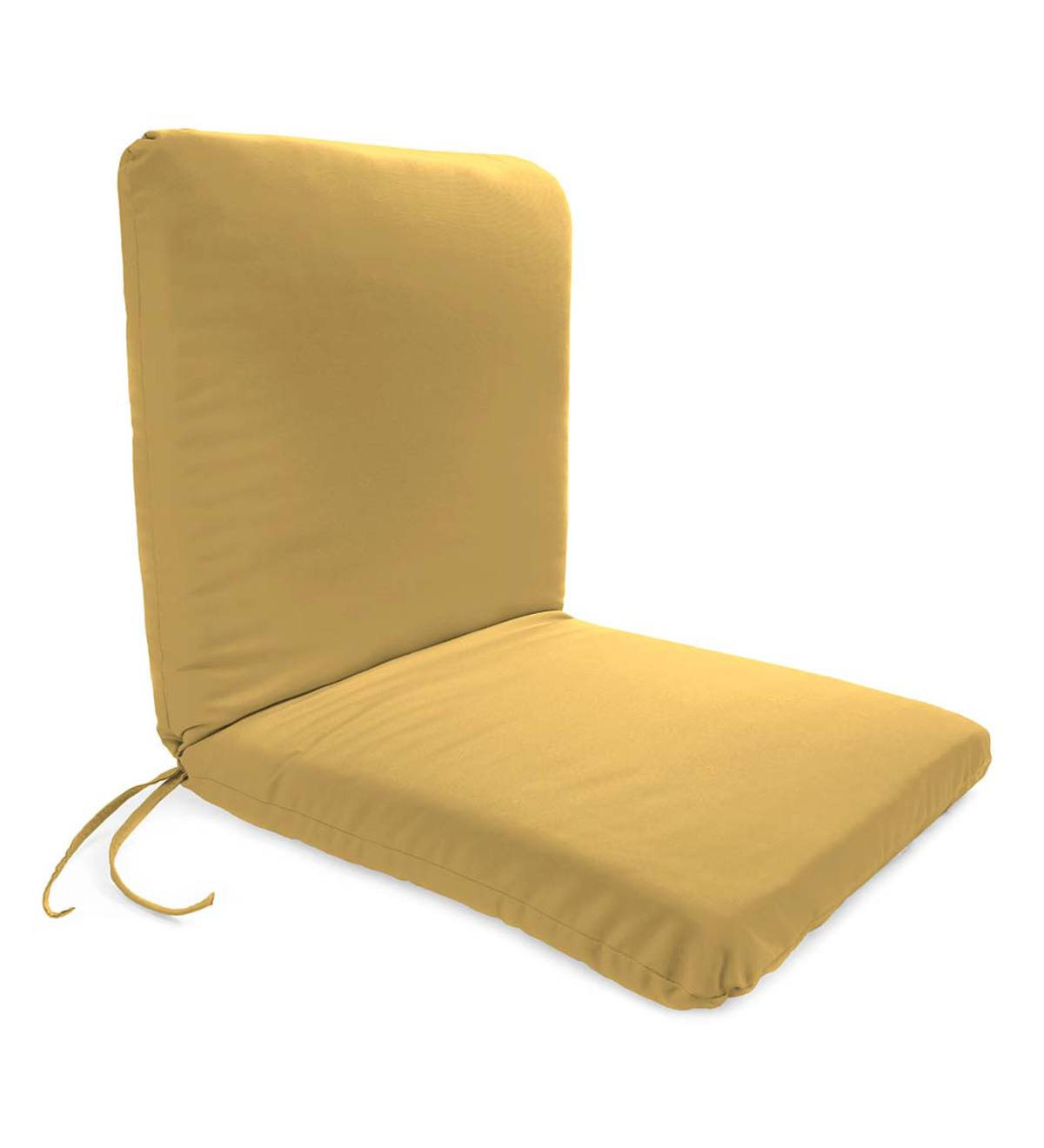 "Polyester Classic Chair Cushion With Ties, Seat 19""x 17""x 2½""; Back 19""x 19""x 2½"" - Khaki"